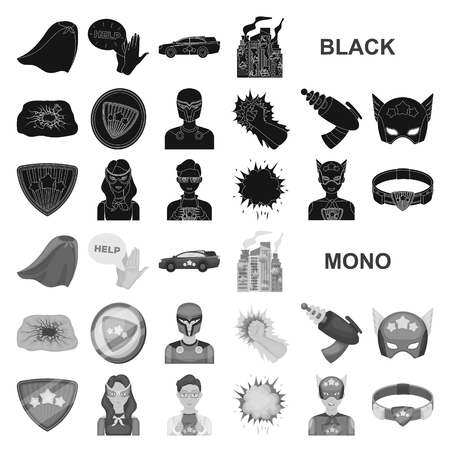 A fantastic superhero black icons in set collection for design. Superhero equipment vector symbol stock illustration.