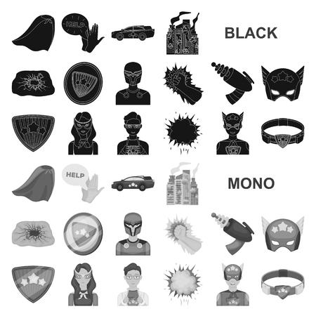 A fantastic superhero black icons in set collection for design. Superhero equipment vector symbol stock illustration.