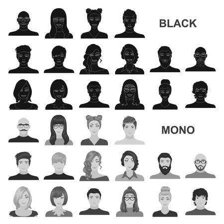 Avatar and face black icons in set collection for design. A person appearance vector symbol stock web illustration.