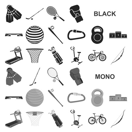 Different kinds of sports black icons in set collection for design. Sport equipment vector symbol stock web illustration.