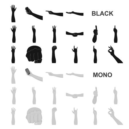 Gestes et leur signification icônes noires dans la collection de jeu pour la conception.Partie émotionnelle de l'illustration stock du symbole vecteur communication.
