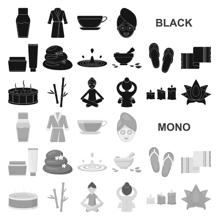 Spa salon and equipment black icons in set collection for design. Relaxation and rest vector symbol stock  illustration. Çizim