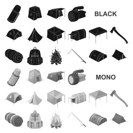 Different kinds of tents black icons in set collection for design. Temporary shelter and housing vector symbol stock  illustration. Иллюстрация