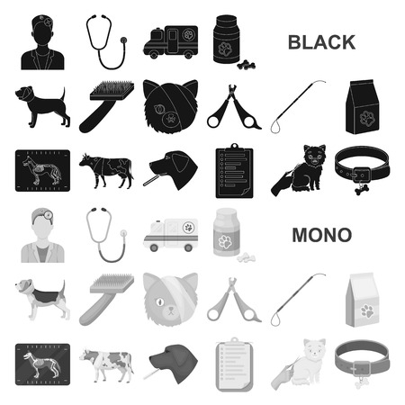 Veterinary clinic black icons in set collection for design. Treatment of a pet vector symbol stock web illustration.