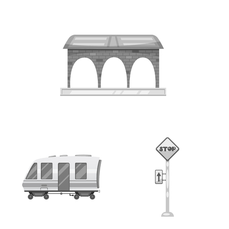 Vector illustration of train and station logo. Collection of train and ticket vector icon for stock.