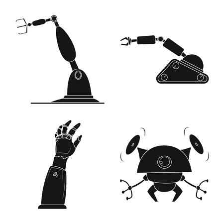 Diseño vectorial de robot y logotipo de fábrica. Conjunto de símbolo de stock de robot y espacio para web.