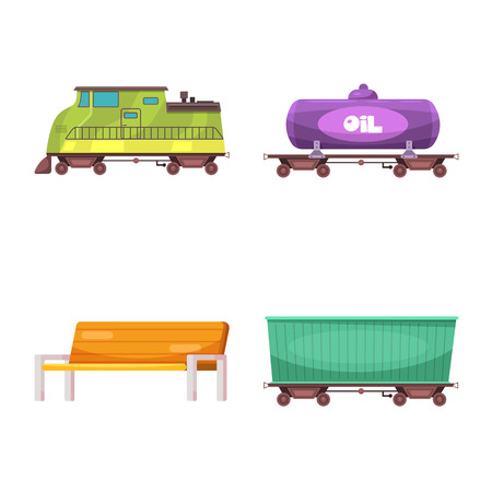 Vector design of train and station icon. Set of train and ticket stock symbol for web.
