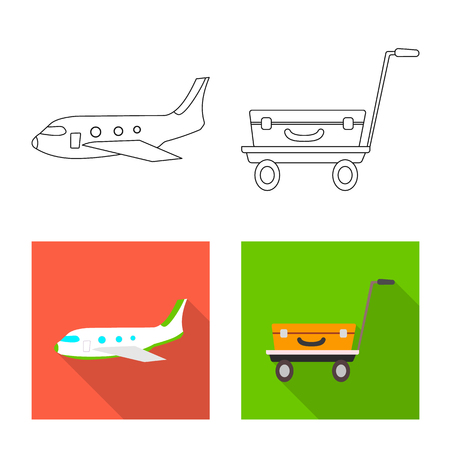 Vector design of airport and airplane symbol. Collection of airport and plane stock symbol for web.