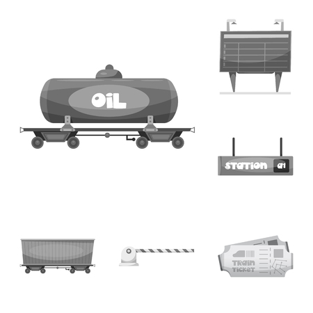 Vector illustration of train and station icon. Set of train and ticket stock symbol for web.