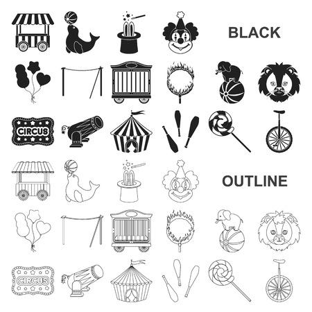 Zirkus und Attribute schwarze Symbole in der Set-Sammlung für Design. Zirkuskunstvektorsymbol stock web illustration.