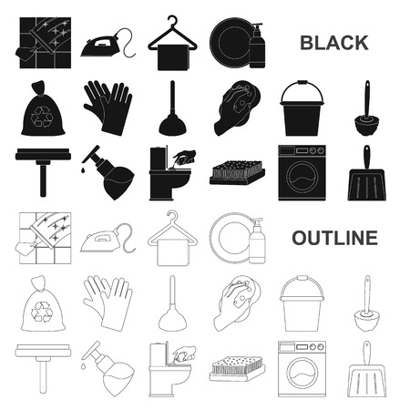 Cleaning and maid black icons in set collection for design. Equipment for cleaning vector symbol stock web illustration.