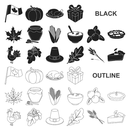 Canada Thanksgiving Day black icons in set collection for design. Canada and Tradition vector symbol stock web illustration. Иллюстрация