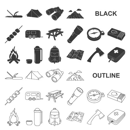 Rest in the camping black icons in set collection for design. Camping and equipment vector symbol stock web illustration.
