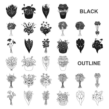 A bouquet of fresh flowers black icons in set collection for design. Various bouquets vector symbol stock web illustration. Vectores