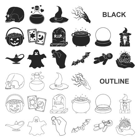 black and white magic black icons in set collection for design. Attributes and sorceress accessories vector symbol stock web illustration. Illustration
