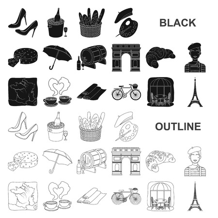 Country France black icons in set collection for design. France and landmark vector symbol stock web illustration.