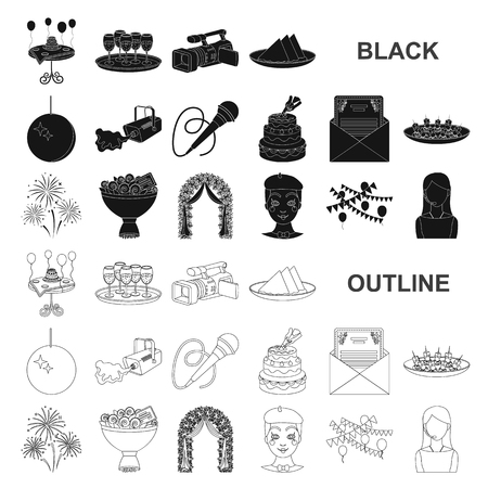 Event Organisation black icons in set collection for design.Celebration and Attributes vector symbol stock web illustration. Ilustracja