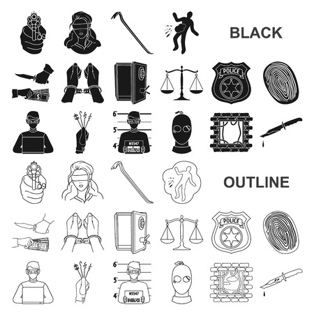 Crime and Punishment black icons in set collection for design.Criminal vector symbol stock web illustration.
