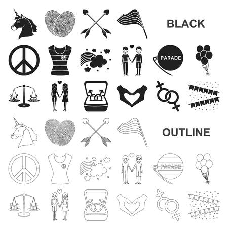Icone gay e nere in insieme di set per il disegno. Minoranza sessuale e attributi simbolo d'archivio web di vettore.