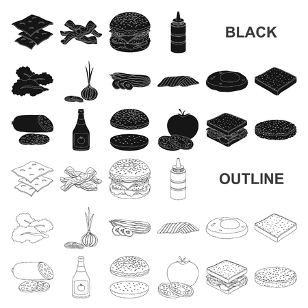 Burger and ingredients black icons in set collection for design. Burger cooking vector symbol stock web illustration.