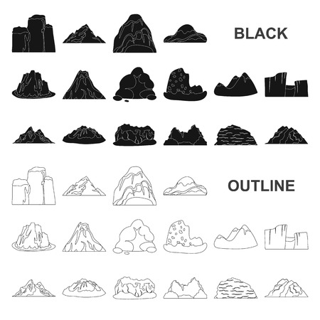 Different mountains black icons in set collection for design.Mountains and landscape vector symbol stock web illustration.