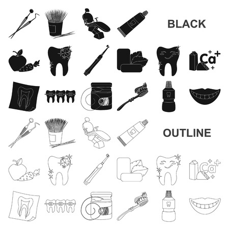 Dental care black icons in set collection for design. Care of teeth vector symbol stock illustration.