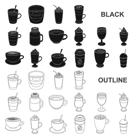 Different kinds of coffee black icons in set collection for design. Coffee drink vector symbol stock  illustration. Illustration