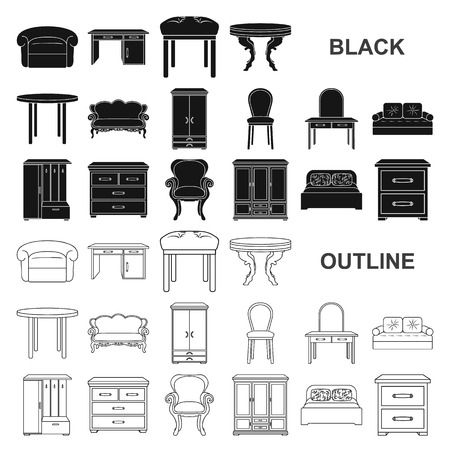 Furniture and interior black icons in set collection for design.Home furniture vector symbol stock  illustration. Illustration
