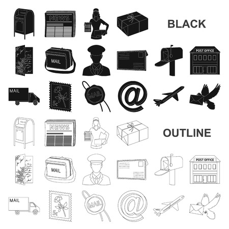 Mail and postman black icons in set collection for design. Mail and equipment vector symbol stock  illustration. Vettoriali