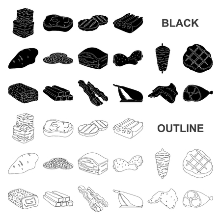Different meat black icons in set collection for design. Meat product vector symbol stock illustration.
