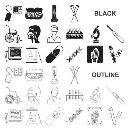 Medicina y tratamiento iconos negros de colección set de diseño. Ilustración de stock de símbolo de vector de medicina y equipo.