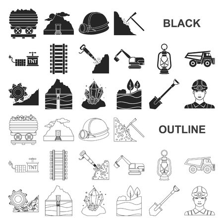 Mining industry black icons in set collection for design. Equipment and tools vector symbol stock  illustration. Illustration