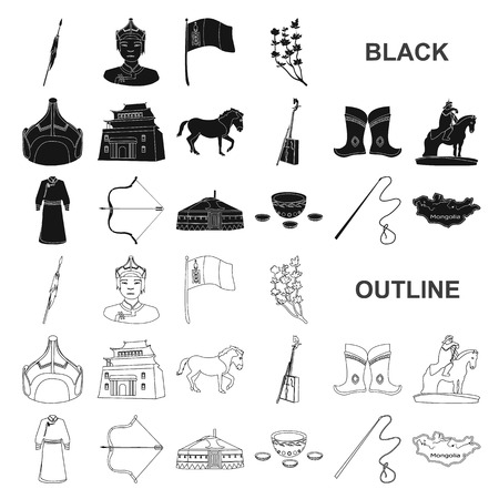 Country Mongolia black icons in set collection for design.Territory and landmark vector symbol stock  illustration.
