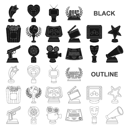 Film awards and prizes black icons in set collection for design. The World Film Academy vector symbol stock  illustration.