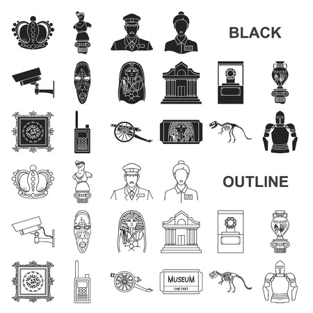 Museum and gallery black icons in set collection for design. Storage and exhibition of showpiece vector symbol stock illustration. Vector Illustration