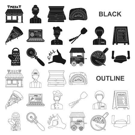 Pizza et pizzeria icônes noires dans la collection de jeu pour la conception. Illustration de stock de symbole de vecteur de personnel et d'équipement.