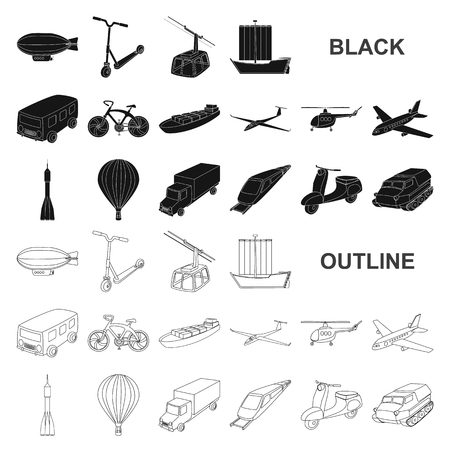 Different types of transport black icons in set collection for design. Car and ship vector symbol stock  illustration.