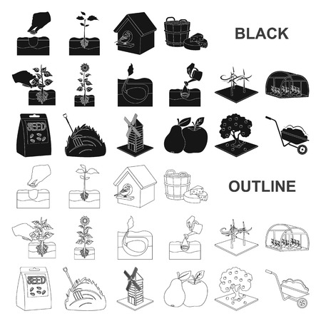 Farm and agriculture black icons in set collection for design. Garden and plants isometric vector symbol stock illustration.