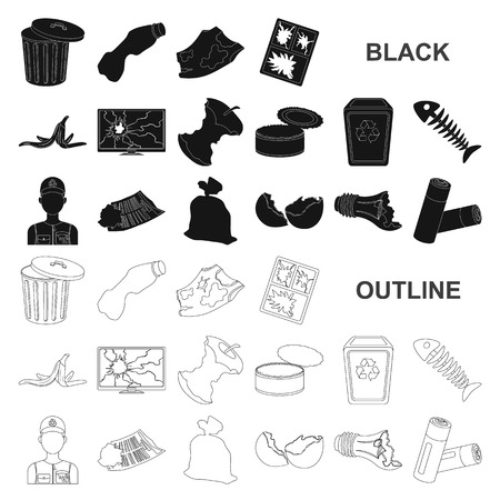 Garbage and waste black icons in set collection for design. Cleaning garbage vector symbol stock  illustration.