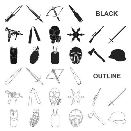 Types of weapons black icons in set collection for design.Firearms and bladed weapons vector symbol stock  illustration. Ilustração