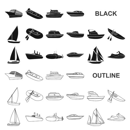 Water and sea transport black icons in set collection for design. A variety of boats and ships vector symbol stock web illustration. Ilustração