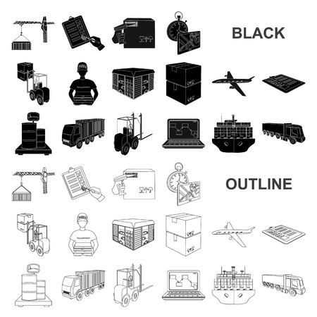 Logistics and delivery black icons in set collection for design. Transport and equipment isometric vector symbol stock web illustration.