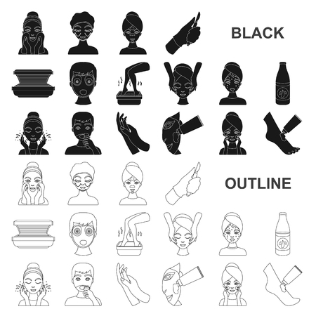Skin care black icons in set collection for design. Face and body vector symbol stock web illustration.