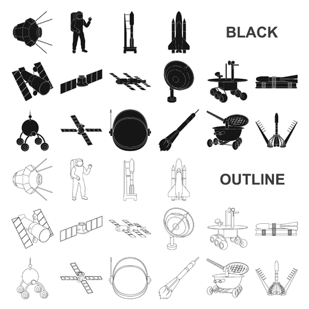 Space technology black icons in set collection for design.Spacecraft and equipment vector symbol stock web illustration.