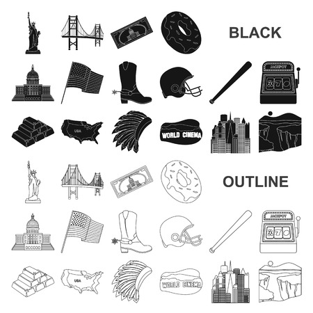USA country black icons in set collection for design.Travel and attractions vector symbol stock illustration.
