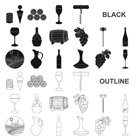 Wine products black icons in set collection for design. Equipment and production of wine vector symbol stock web illustration. Illustration