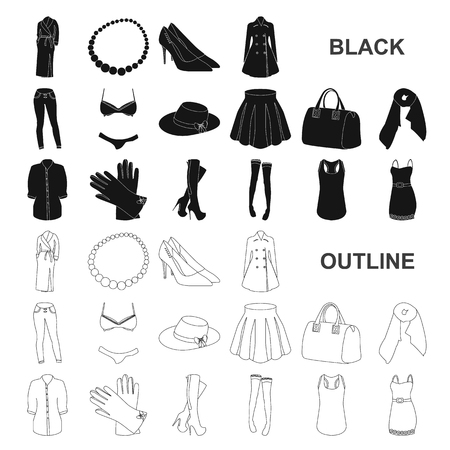 Women Clothing black icons in set collection for design.Clothing Varieties and Accessories vector symbol stock web illustration.