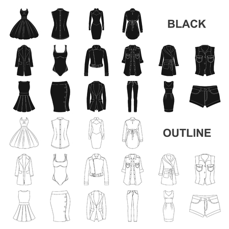 Types of female hairstyles black icons in set collection for design. Appearance of a woman vector symbol stock illustration.