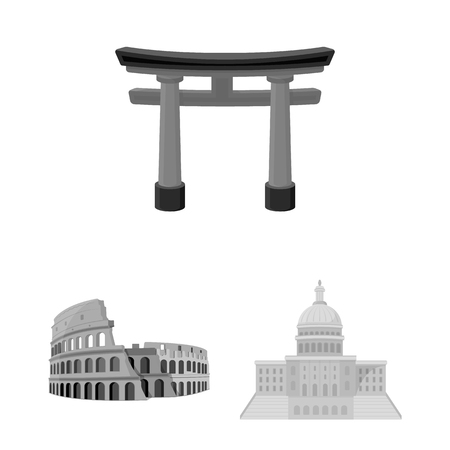 Sights of different countries monochrome icons in set collection for design. Famous building bitmap symbol stock web illustration. Banco de Imagens