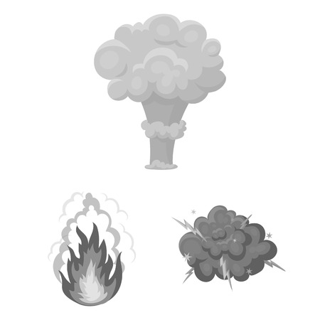 Different explosions monochrome icons in set collection for design.Flash and flame bitmap symbol stock web illustration. Фото со стока
